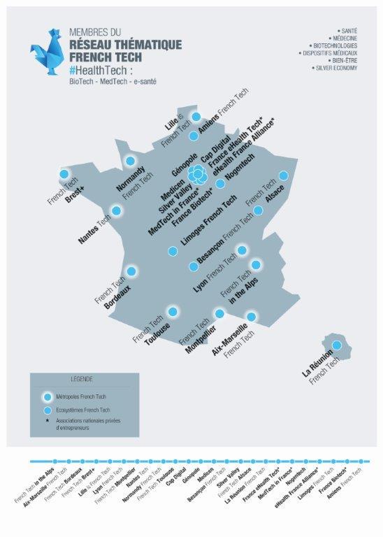 Carte du réseau Frech tech #HealthTech - Source: French Tech