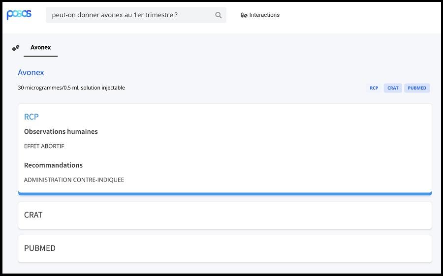 Capture d'écran outil Posos
