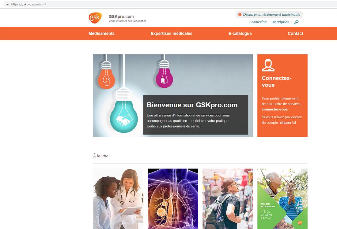 Capture d'écran du site GSKPro.